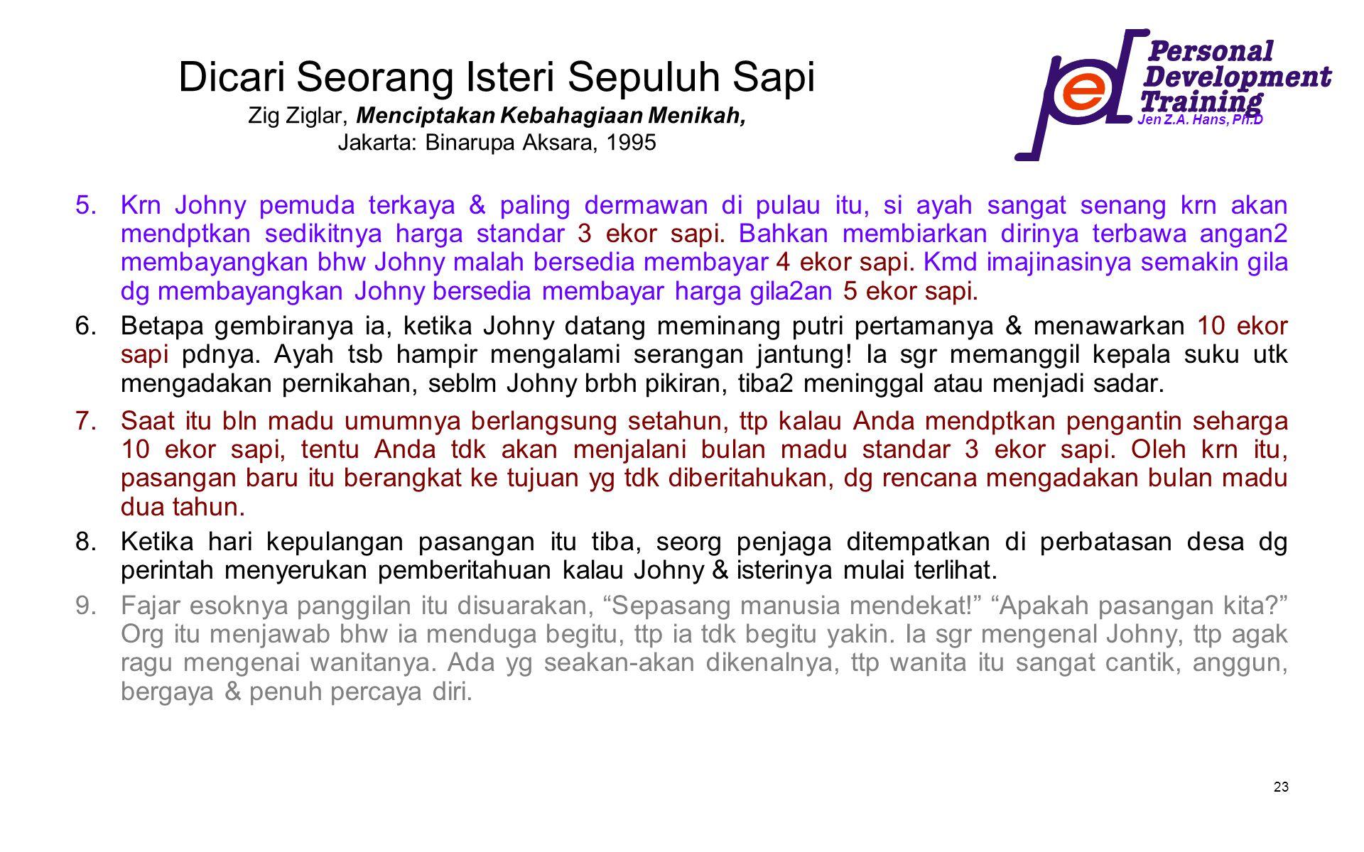 Jen Z.A. Hans, Ph.D 23 Dicari Seorang Isteri Sepuluh Sapi Zig Ziglar, Menciptakan Kebahagiaan Menikah, Jakarta: Binarupa Aksara, 1995 5.Krn Johny pemu