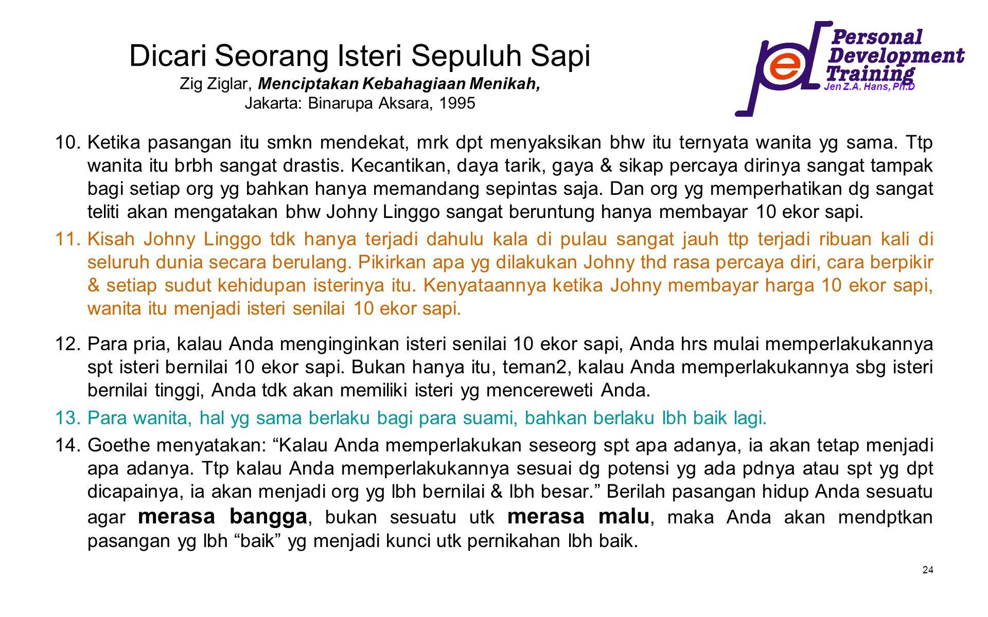 Jen Z.A. Hans, Ph.D 24 Dicari Seorang Isteri Sepuluh Sapi Zig Ziglar, Menciptakan Kebahagiaan Menikah, Jakarta: Binarupa Aksara, 1995 10.Ketika pasang