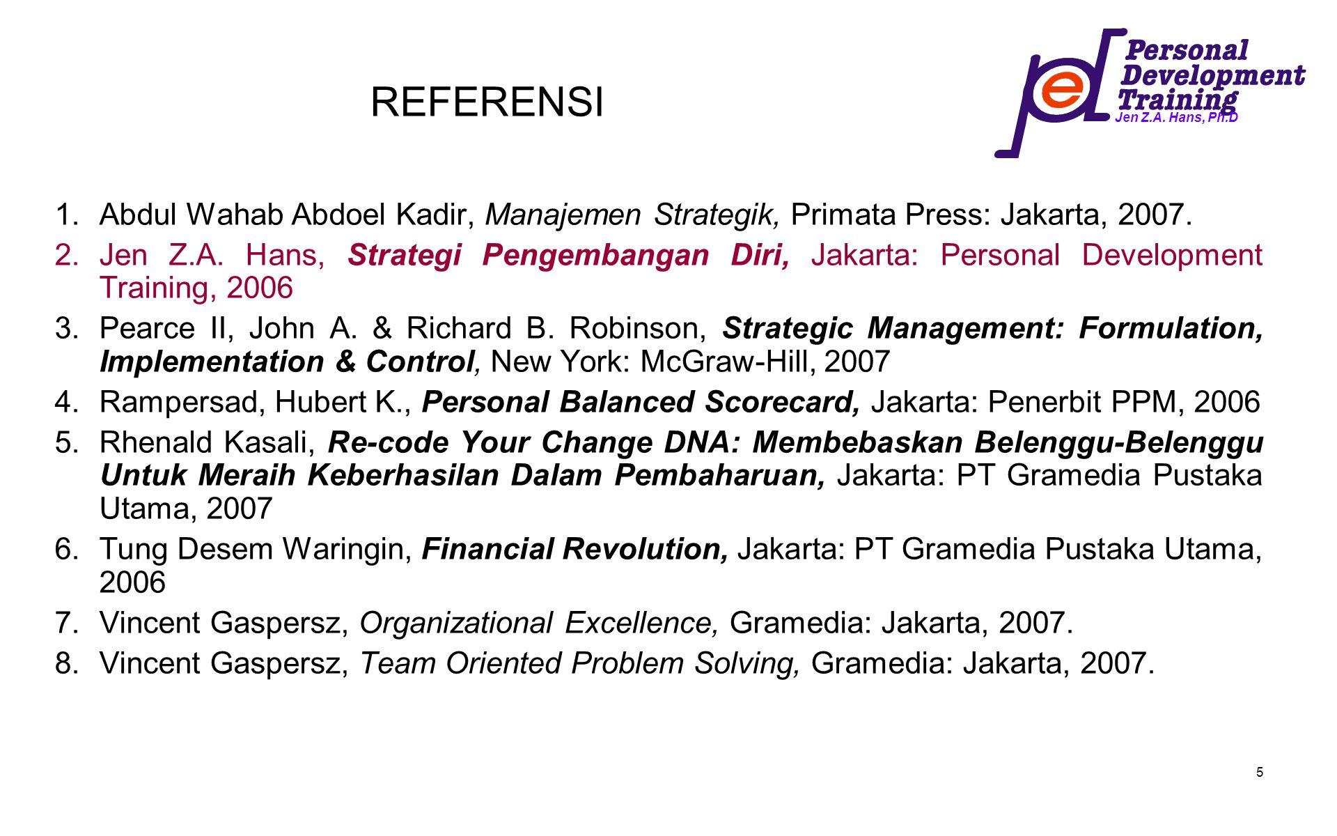 Jen Z.A. Hans, Ph.D 5 REFERENSI 1.Abdul Wahab Abdoel Kadir, Manajemen Strategik, Primata Press: Jakarta, 2007. 2.Jen Z.A. Hans, Strategi Pengembangan