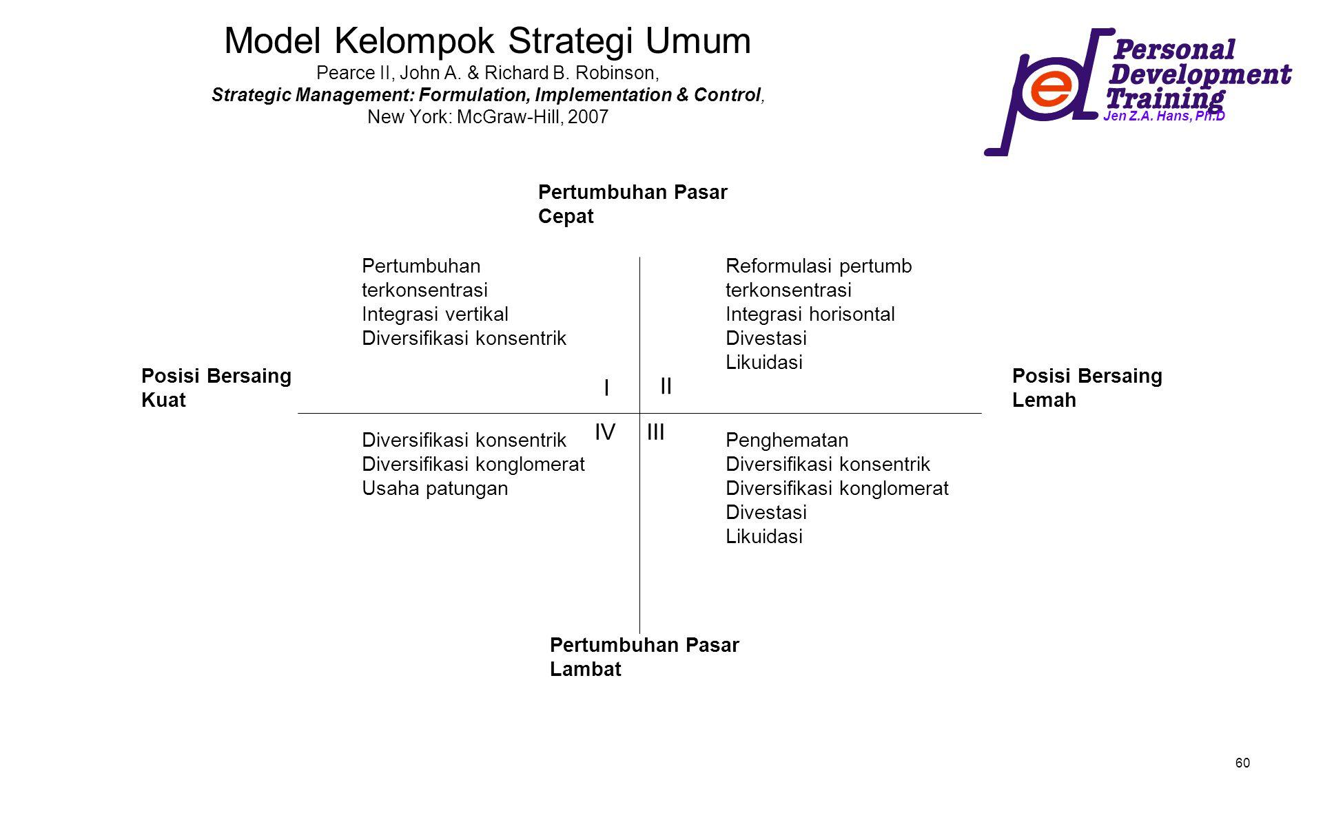 Jen Z.A. Hans, Ph.D 60 Model Kelompok Strategi Umum Pearce II, John A. & Richard B. Robinson, Strategic Management: Formulation, Implementation & Cont