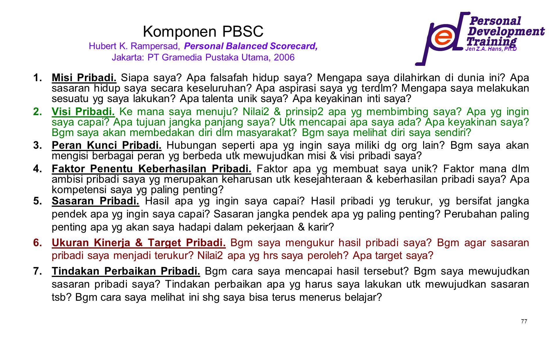 Jen Z.A. Hans, Ph.D 77 Komponen PBSC Hubert K. Rampersad, Personal Balanced Scorecard, Jakarta: PT Gramedia Pustaka Utama, 2006 1.Misi Pribadi. Siapa