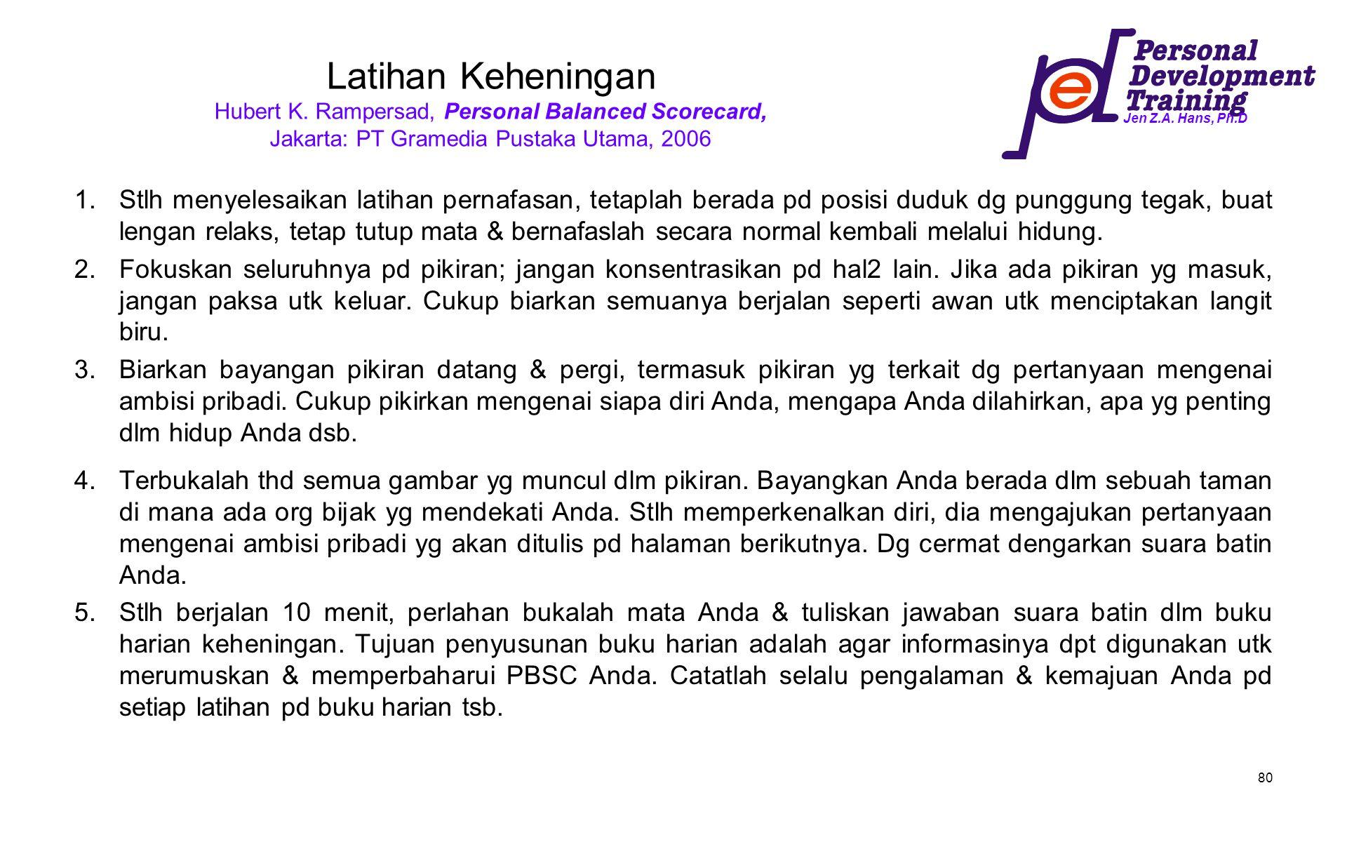 Jen Z.A. Hans, Ph.D 80 Latihan Keheningan Hubert K. Rampersad, Personal Balanced Scorecard, Jakarta: PT Gramedia Pustaka Utama, 2006 1.Stlh menyelesai