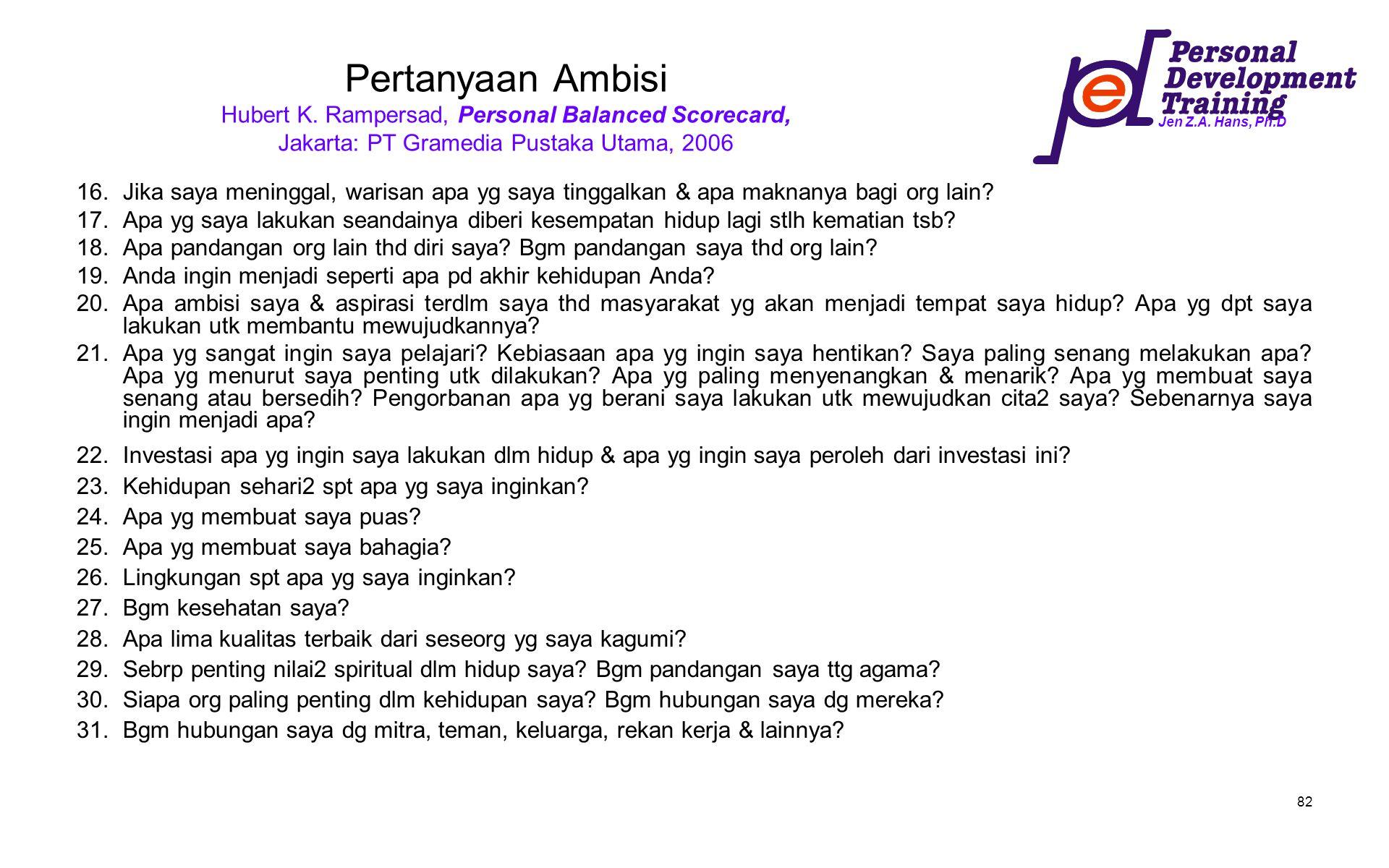 Jen Z.A. Hans, Ph.D 82 Pertanyaan Ambisi Hubert K. Rampersad, Personal Balanced Scorecard, Jakarta: PT Gramedia Pustaka Utama, 2006 16.Jika saya menin