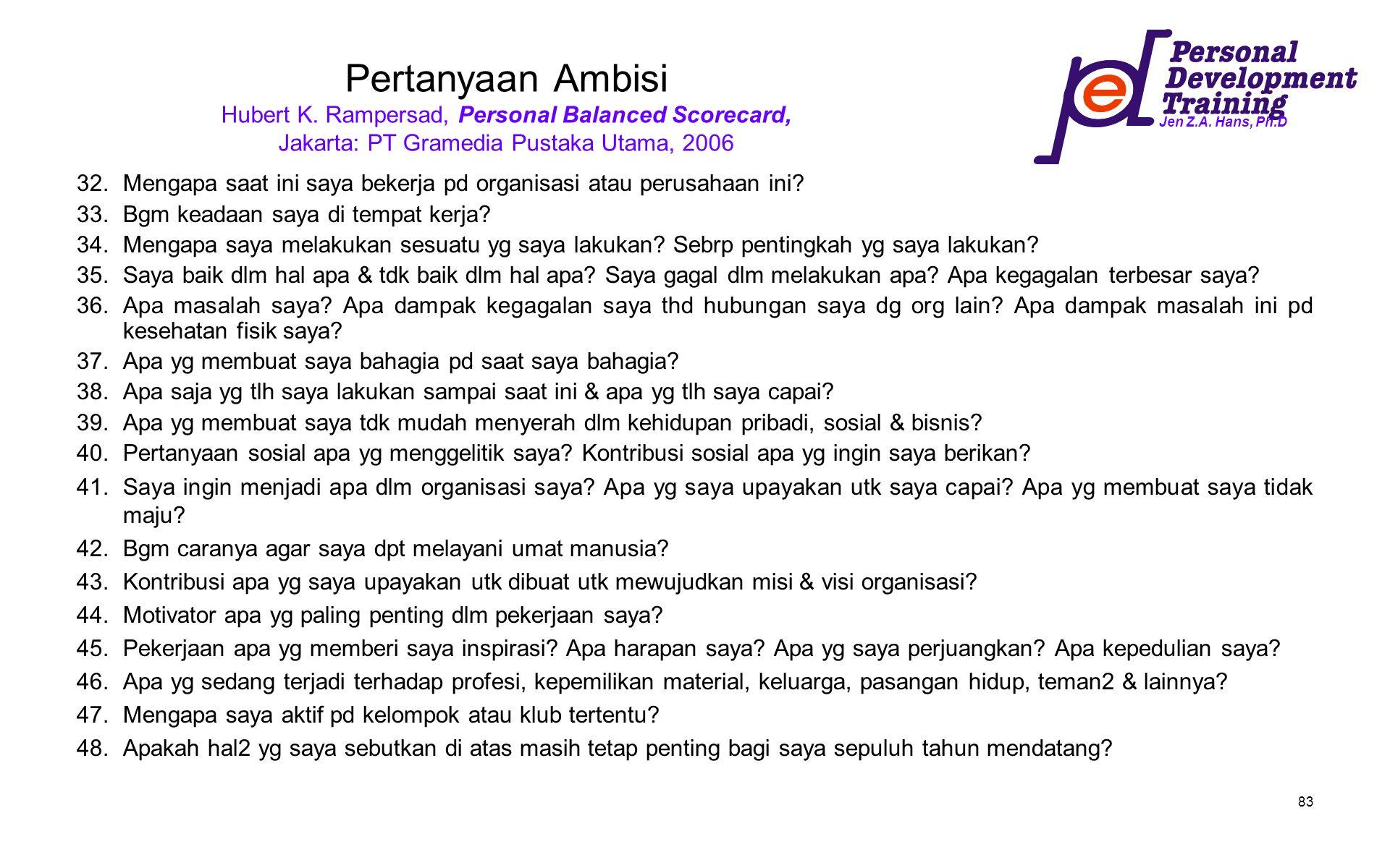 Jen Z.A. Hans, Ph.D 83 Pertanyaan Ambisi Hubert K. Rampersad, Personal Balanced Scorecard, Jakarta: PT Gramedia Pustaka Utama, 2006 32.Mengapa saat in