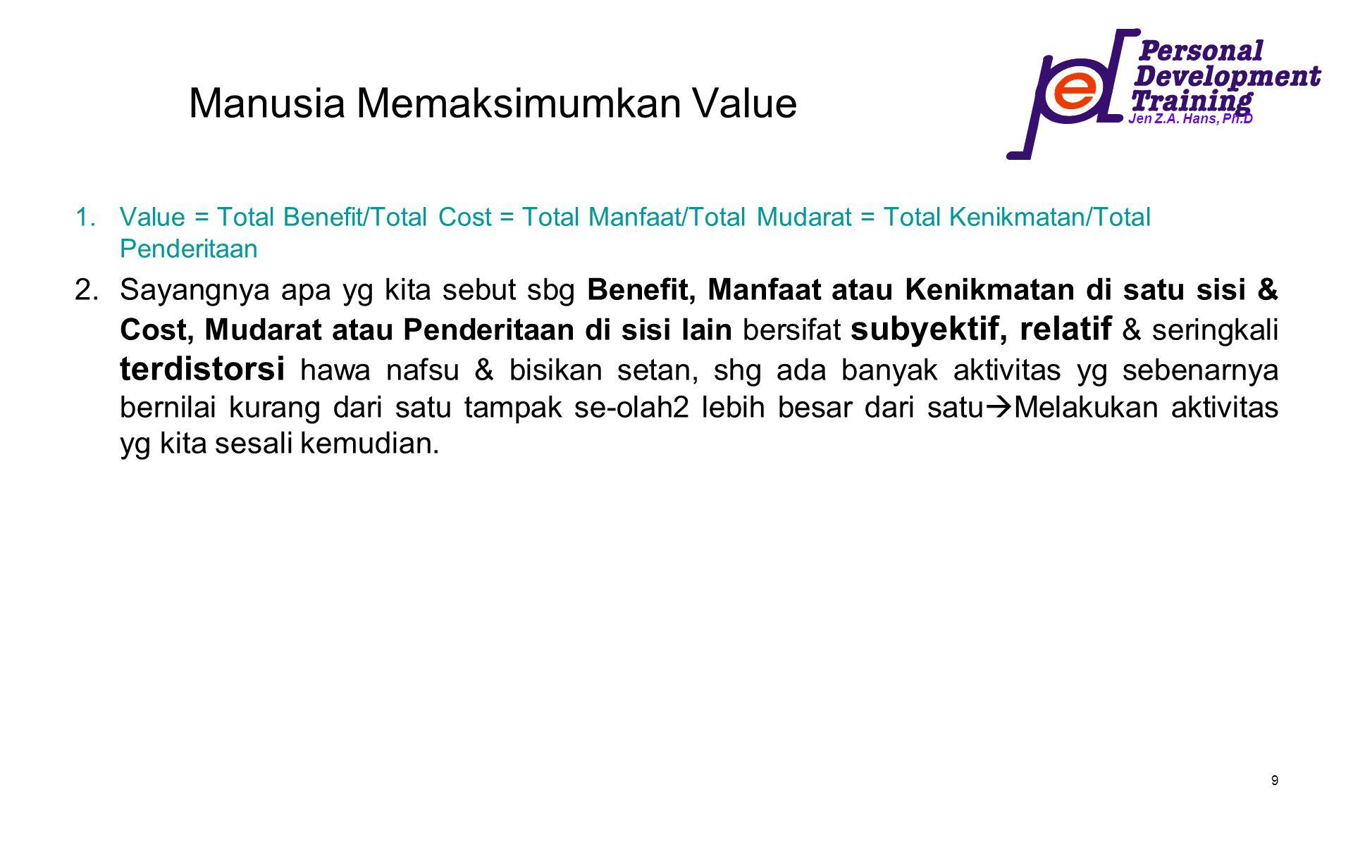 Jen Z.A. Hans, Ph.D 9 Manusia Memaksimumkan Value 1.Value = Total Benefit/Total Cost = Total Manfaat/Total Mudarat = Total Kenikmatan/Total Penderitaa