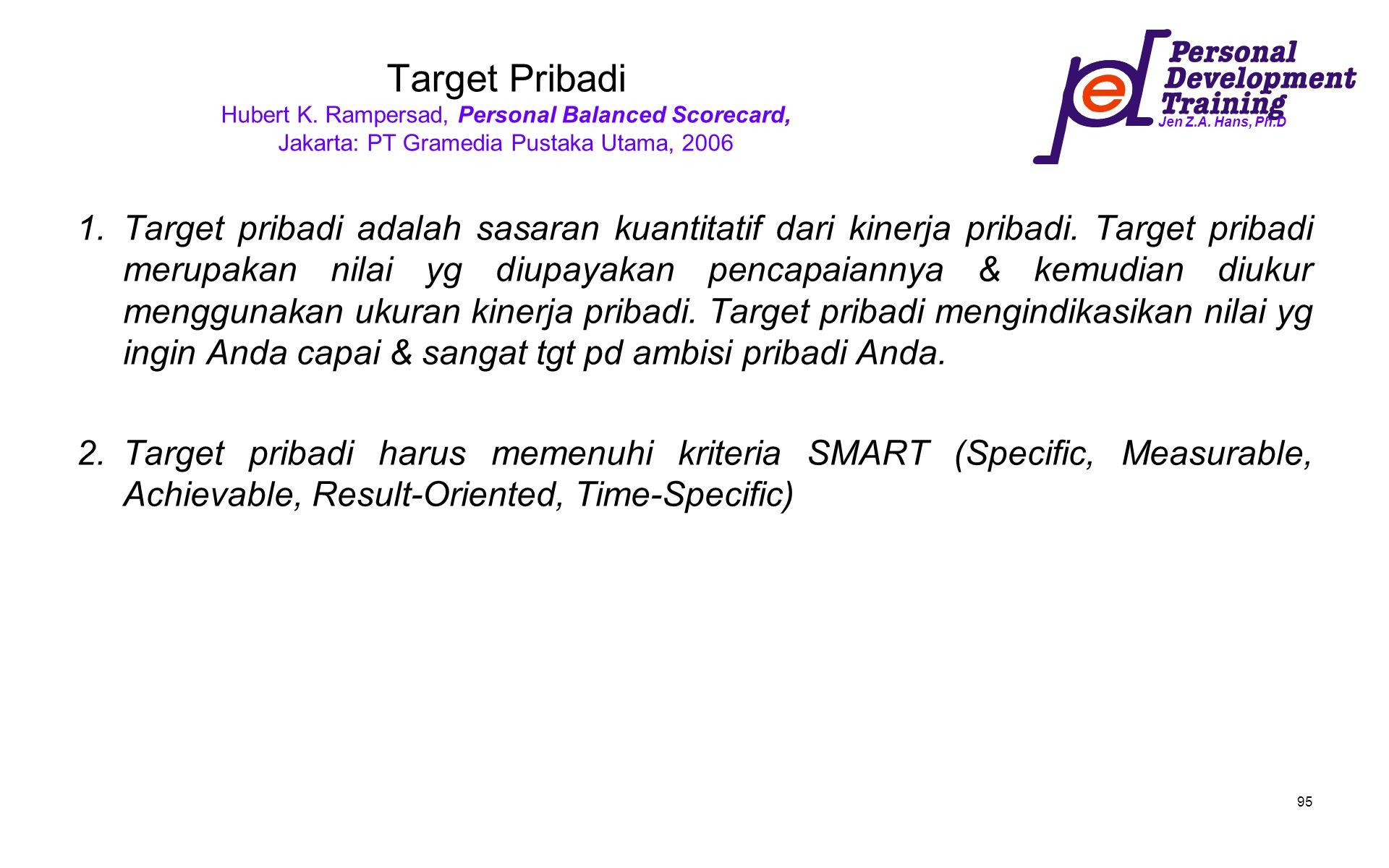 Jen Z.A. Hans, Ph.D 95 Target Pribadi Hubert K. Rampersad, Personal Balanced Scorecard, Jakarta: PT Gramedia Pustaka Utama, 2006 1.Target pribadi adal