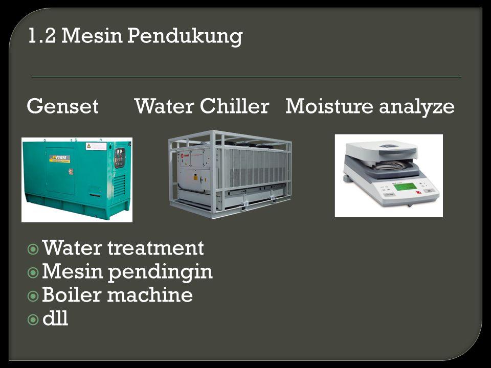 1.2 Mesin Pendukung Genset Water Chiller Moisture analyze  Water treatment  Mesin pendingin  Boiler machine  dll