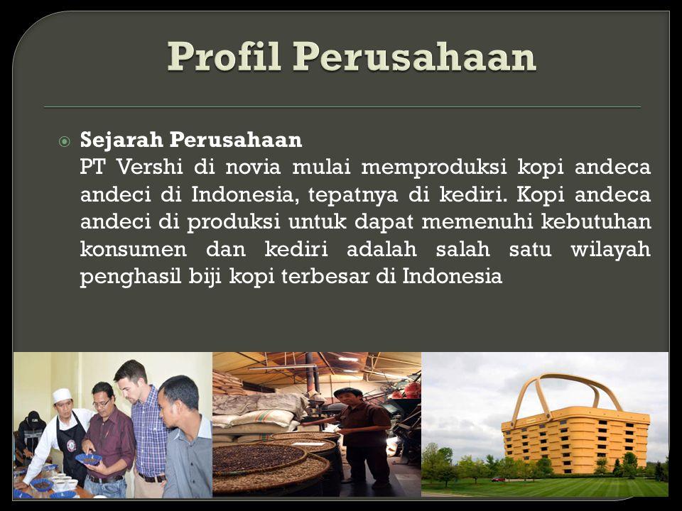  Sejarah Perusahaan PT Vershi di novia mulai memproduksi kopi andeca andeci di Indonesia, tepatnya di kediri. Kopi andeca andeci di produksi untuk da