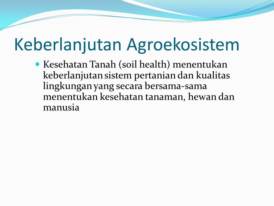 Keberlanjutan Agroekosistem Kesehatan Tanah (soil health) menentukan keberlanjutan sistem pertanian dan kualitas lingkungan yang secara bersama-sama m