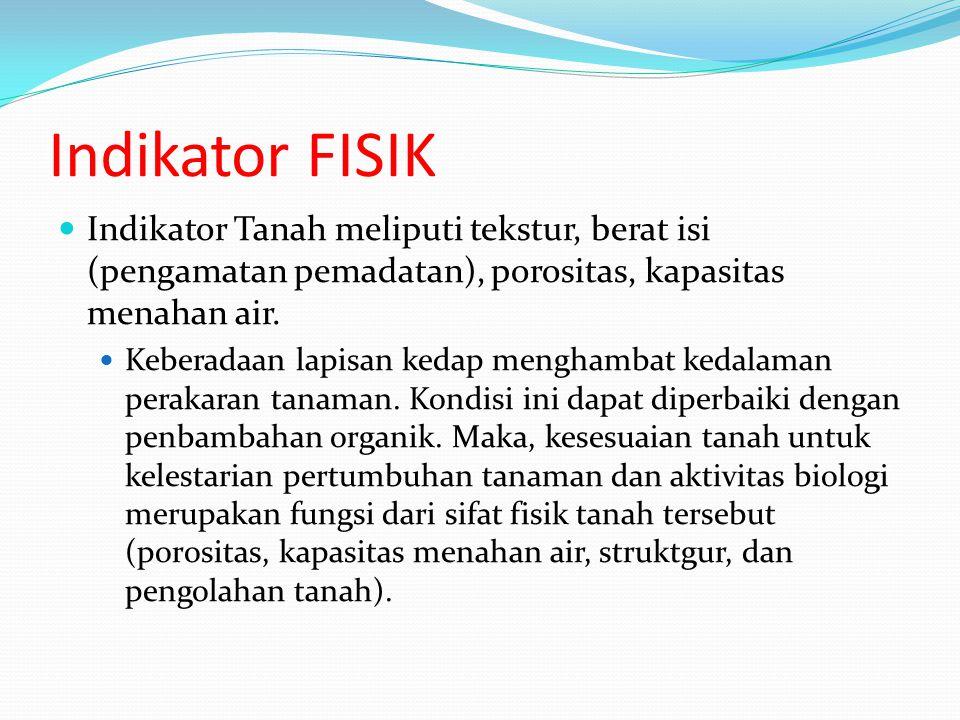 Indikator FISIK Indikator Tanah meliputi tekstur, berat isi (pengamatan pemadatan), porositas, kapasitas menahan air.