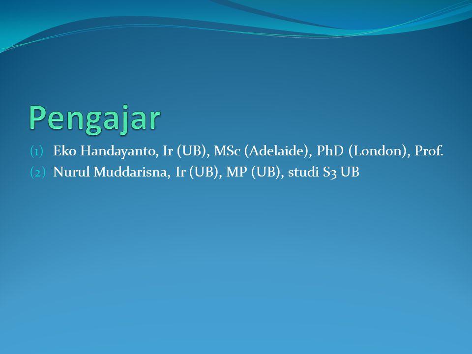 (1) Eko Handayanto, Ir (UB), MSc (Adelaide), PhD (London), Prof. (2) Nurul Muddarisna, Ir (UB), MP (UB), studi S3 UB