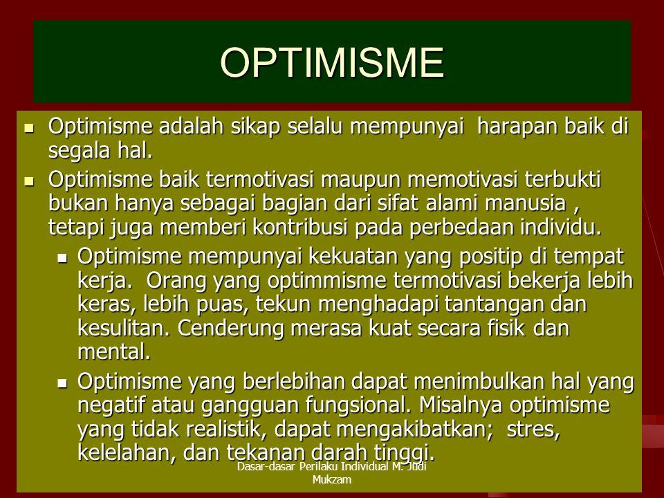 OPTIMISME Optimisme adalah sikap selalu mempunyai harapan baik di segala hal. Optimisme adalah sikap selalu mempunyai harapan baik di segala hal. Opti