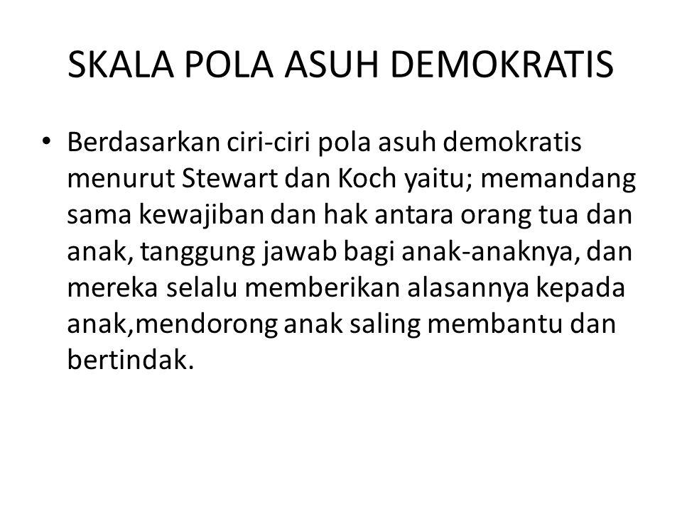 SKALA POLA ASUH DEMOKRATIS Berdasarkan ciri-ciri pola asuh demokratis menurut Stewart dan Koch yaitu; memandang sama kewajiban dan hak antara orang tu