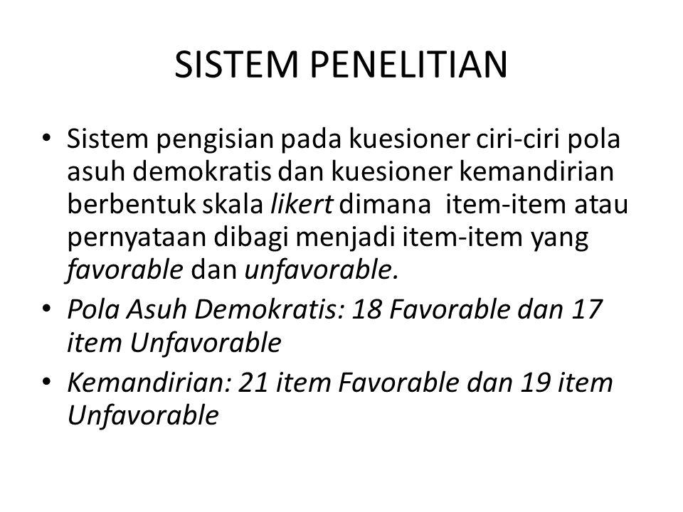 SISTEM PENELITIAN Sistem pengisian pada kuesioner ciri-ciri pola asuh demokratis dan kuesioner kemandirian berbentuk skala likert dimana item-item ata