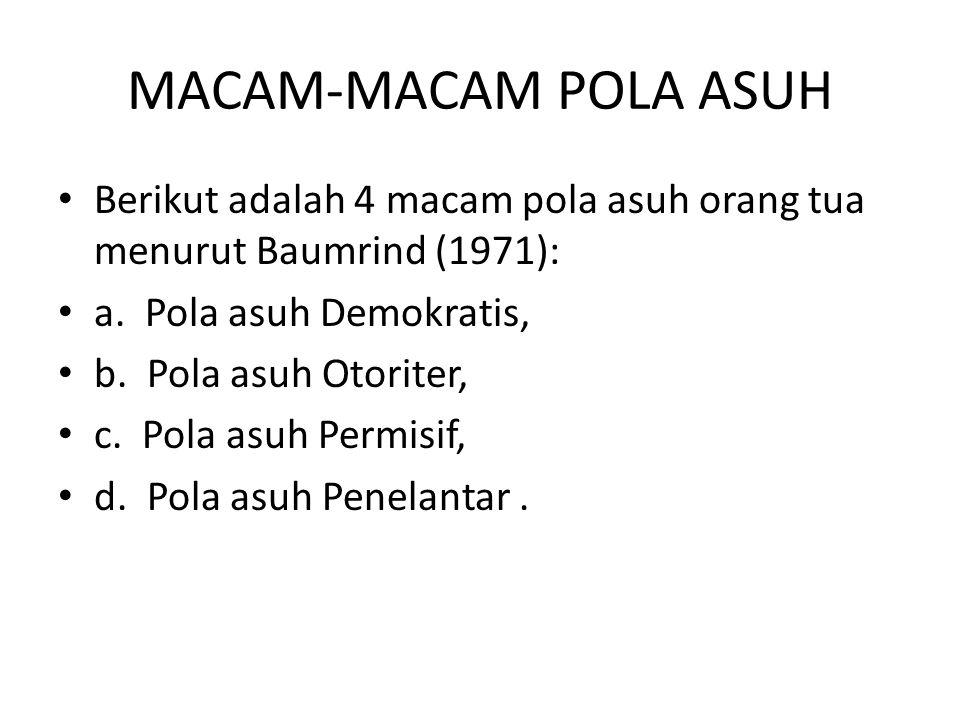 MACAM-MACAM POLA ASUH Berikut adalah 4 macam pola asuh orang tua menurut Baumrind (1971): a. Pola asuh Demokratis, b. Pola asuh Otoriter, c. Pola asuh
