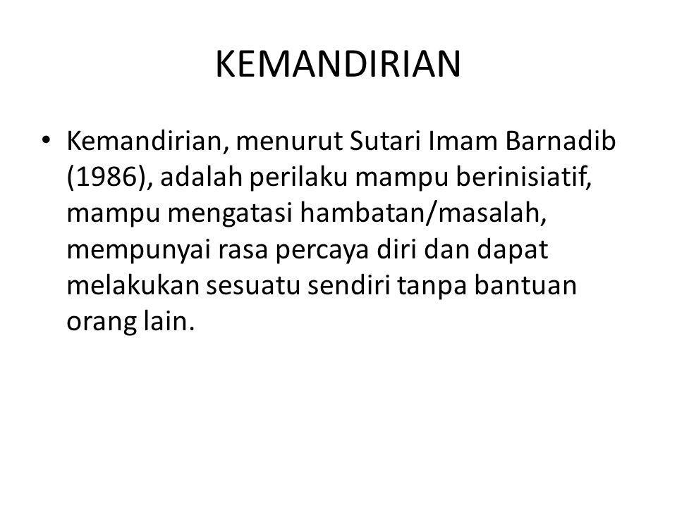 KEMANDIRIAN Kemandirian, menurut Sutari Imam Barnadib (1986), adalah perilaku mampu berinisiatif, mampu mengatasi hambatan/masalah, mempunyai rasa per