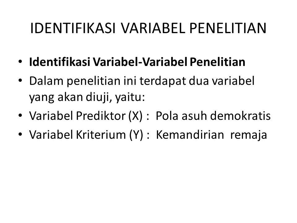 IDENTIFIKASI VARIABEL PENELITIAN Identifikasi Variabel-Variabel Penelitian Dalam penelitian ini terdapat dua variabel yang akan diuji, yaitu: Variabel