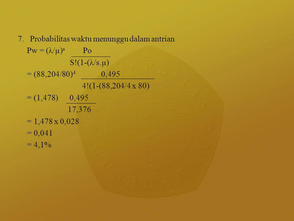 7. Probabilitas waktu menunggu dalam antrian Pw = (λ/µ) s Po S!(1-(λ/s.µ) = (88,204/80) 4 0,495 4!(1-(88,204/4 x 80) = (1,478) 0,495 17,376 = 1,478 x