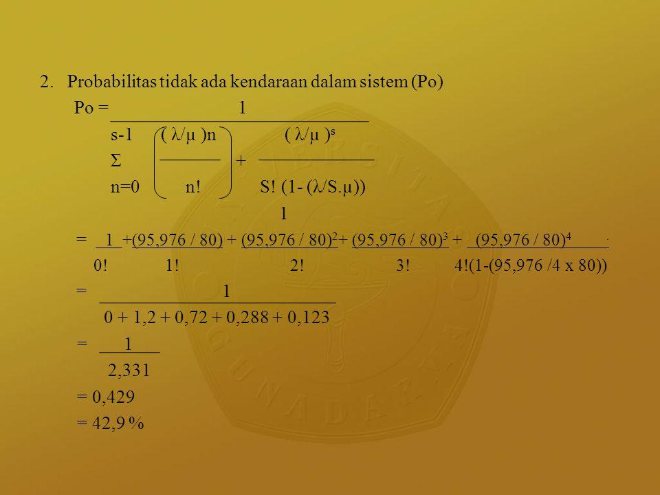 2. Probabilitas tidak ada kendaraan dalam sistem (Po) Po =1 s-1 ( λ/µ )n ( λ/µ ) s Σ + n=0 n! S! (1- (λ/S.µ)) 1 = 1 +(95,976 / 80) + (95,976 / 80) 2 +