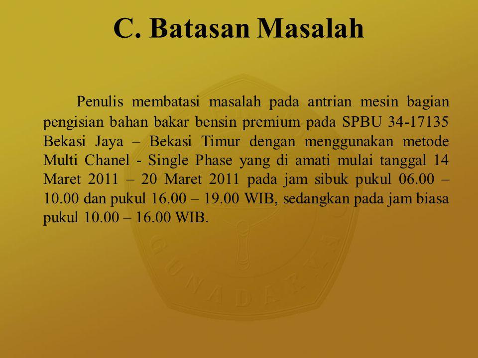 C. Batasan Masalah Penulis membatasi masalah pada antrian mesin bagian pengisian bahan bakar bensin premium pada SPBU 34-17135 Bekasi Jaya – Bekasi Ti