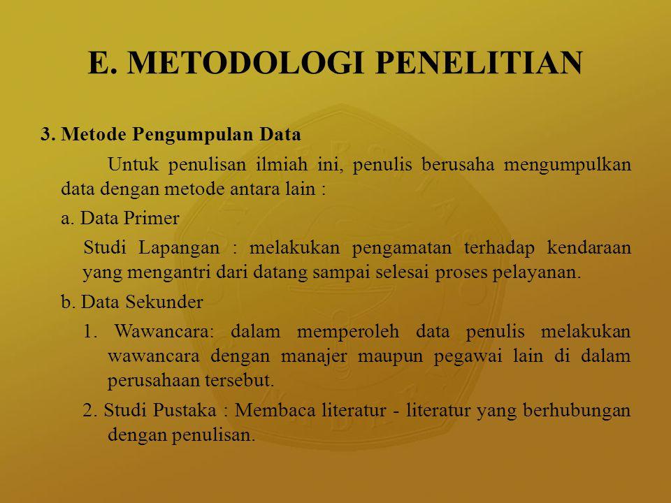 E. METODOLOGI PENELITIAN 3. Metode Pengumpulan Data Untuk penulisan ilmiah ini, penulis berusaha mengumpulkan data dengan metode antara lain : a. Data