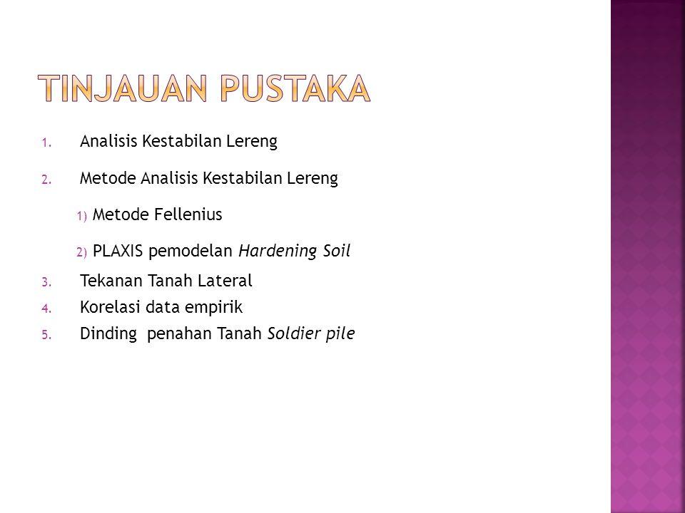 1. Analisis Kestabilan Lereng 2. Metode Analisis Kestabilan Lereng 1) Metode Fellenius 2) PLAXIS pemodelan Hardening Soil 3. Tekanan Tanah Lateral 4.