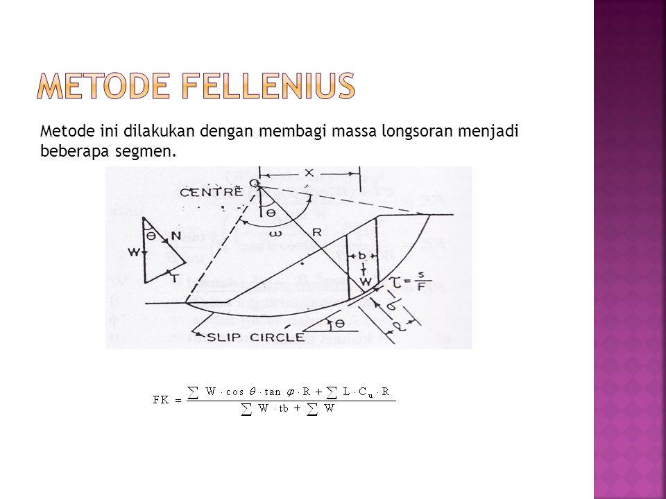 Metode ini dilakukan dengan membagi massa longsoran menjadi beberapa segmen.