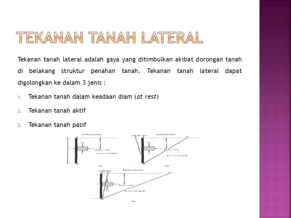 Tekanan tanah lateral adalah gaya yang ditimbulkan akibat dorongan tanah di belakang struktur penahan tanah. Tekanan tanah lateral dapat digolongkan k