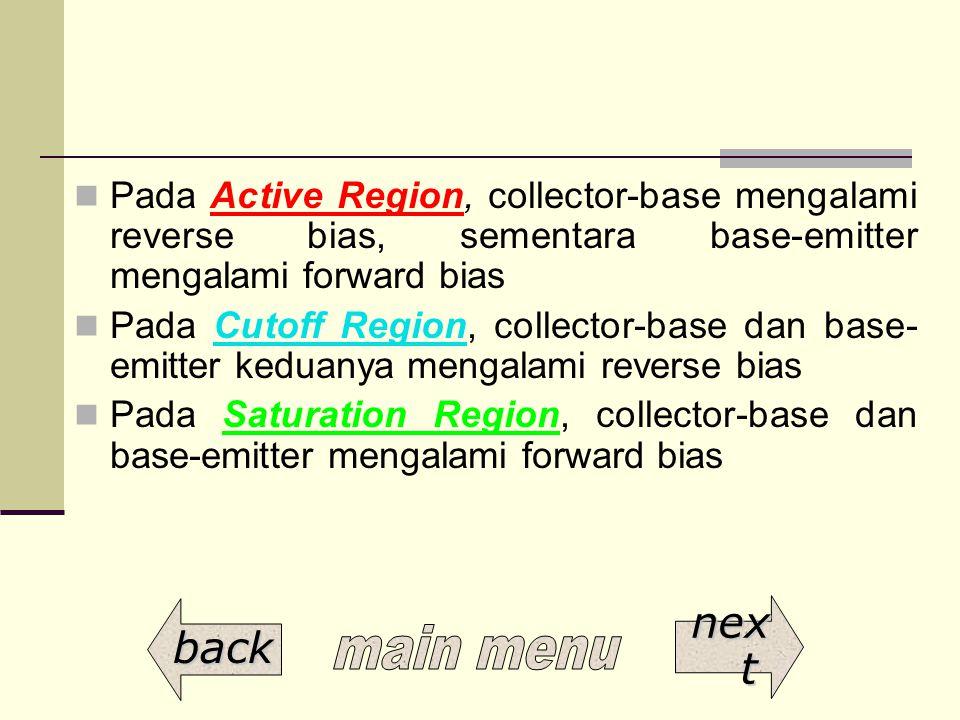 Pada Active Region, collector-base mengalami reverse bias, sementara base-emitter mengalami forward bias Pada Cutoff Region, collector-base dan base-