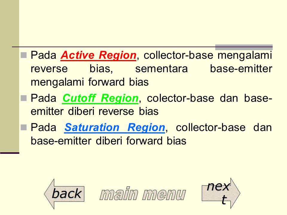 Pada Active Region, collector-base mengalami reverse bias, sementara base-emitter mengalami forward bias Pada Cutoff Region, colector-base dan base- e