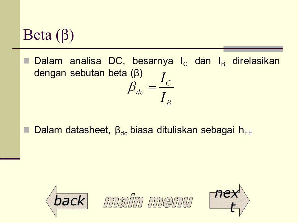 Beta (β) Dalam analisa DC, besarnya I C dan I B direlasikan dengan sebutan beta (β) Dalam datasheet, β dc biasa dituliskan sebagai h FE back nex t nex