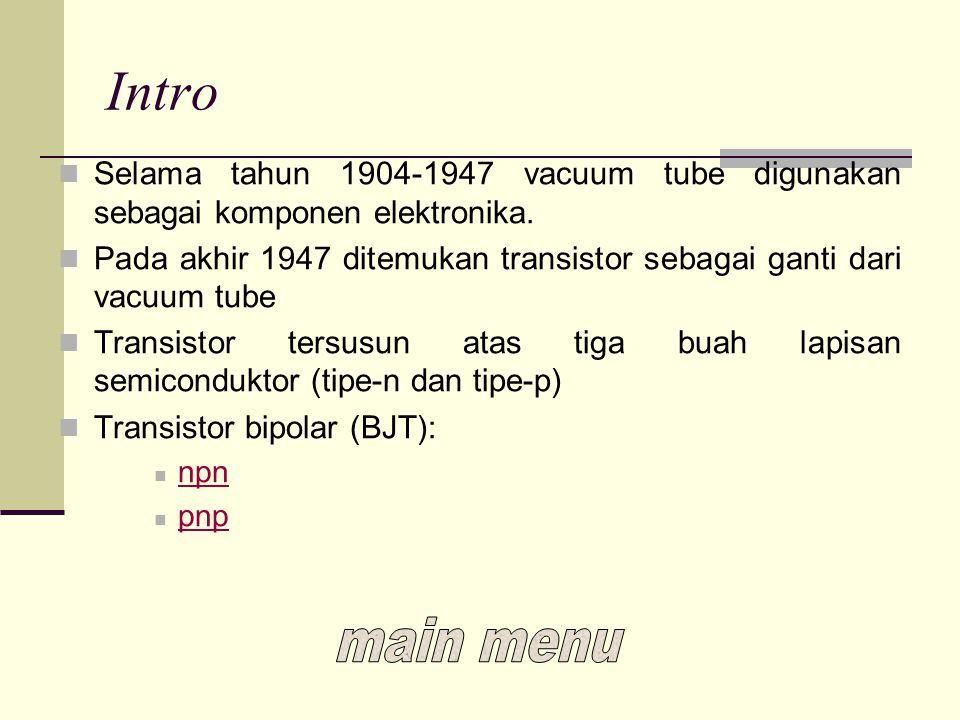 Intro Selama tahun 1904-1947 vacuum tube digunakan sebagai komponen elektronika. Pada akhir 1947 ditemukan transistor sebagai ganti dari vacuum tube T