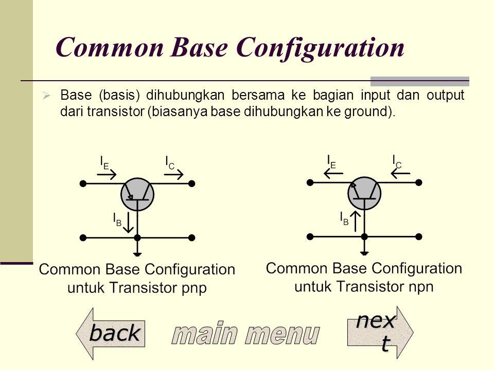Common Base Configuration  Base (basis) dihubungkan bersama ke bagian input dan output dari transistor (biasanya base dihubungkan ke ground). back ne