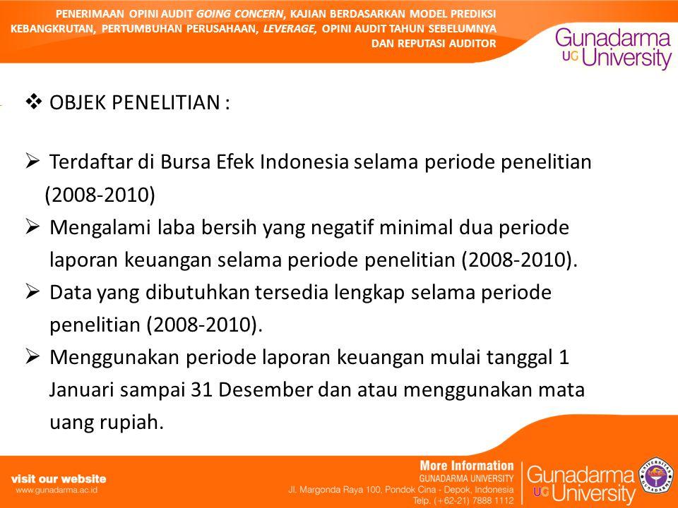 PENERIMAAN OPINI AUDIT GOING CONCERN, KAJIAN BERDASARKAN MODEL PREDIKSI KEBANGKRUTAN, PERTUMBUHAN PERUSAHAAN, LEVERAGE, OPINI AUDIT TAHUN SEBELUMNYA DAN REPUTASI AUDITOR  OBJEK PENELITIAN :  Terdaftar di Bursa Efek Indonesia selama periode penelitian (2008-2010)  Mengalami laba bersih yang negatif minimal dua periode laporan keuangan selama periode penelitian (2008-2010).