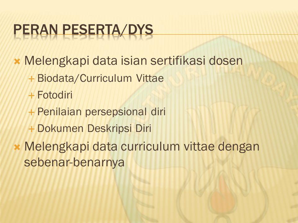  Melengkapi data isian sertifikasi dosen  Biodata/Curriculum Vittae  Fotodiri  Penilaian persepsional diri  Dokumen Deskripsi Diri  Melengkapi data curriculum vittae dengan sebenar-benarnya