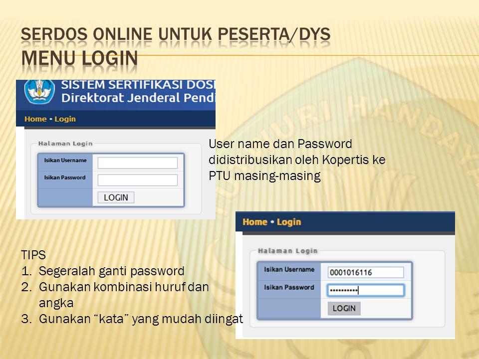 User name dan Password didistribusikan oleh Kopertis ke PTU masing-masing TIPS 1.Segeralah ganti password 2.Gunakan kombinasi huruf dan angka 3.Gunaka