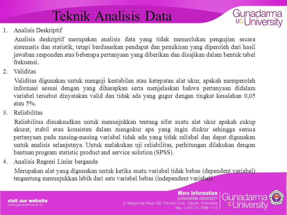 Teknik Analisis Data 1.Analisis Deskriptif Analisis deskriptif merupakan analisis data yang tidak memerlukan pengujian secara sistematis dan statistik