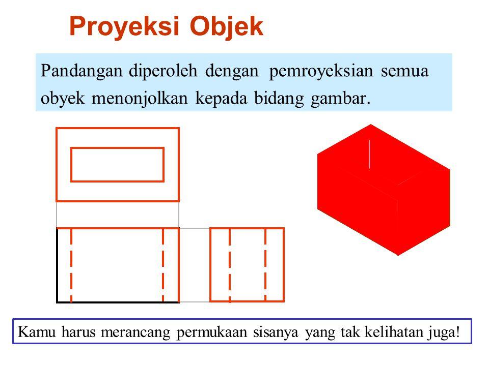 Proyeksi Objek Pandangan diperoleh dengan pemroyeksian semua obyek menonjolkan kepada bidang gambar.