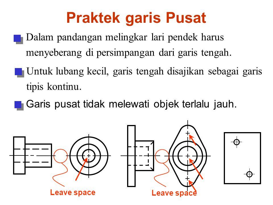 Praktek garis Pusat Dalam pandangan melingkar lari pendek harus menyeberang di persimpangan dari garis tengah.