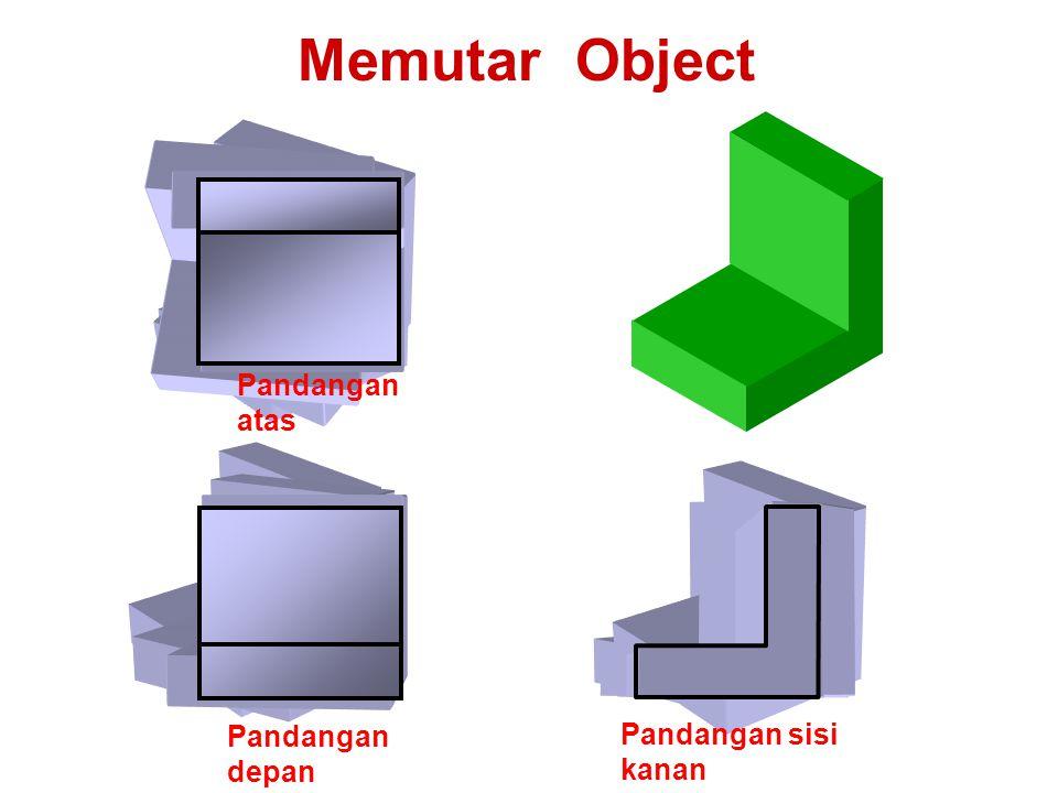 Memutar Object Pandangan depan Pandangan sisi kanan Pandangan atas