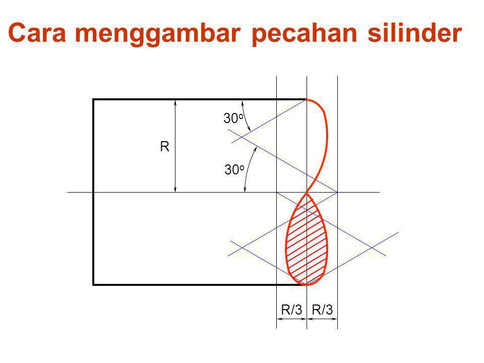 Cara menggambar pecahan silinder R R/3 30 o