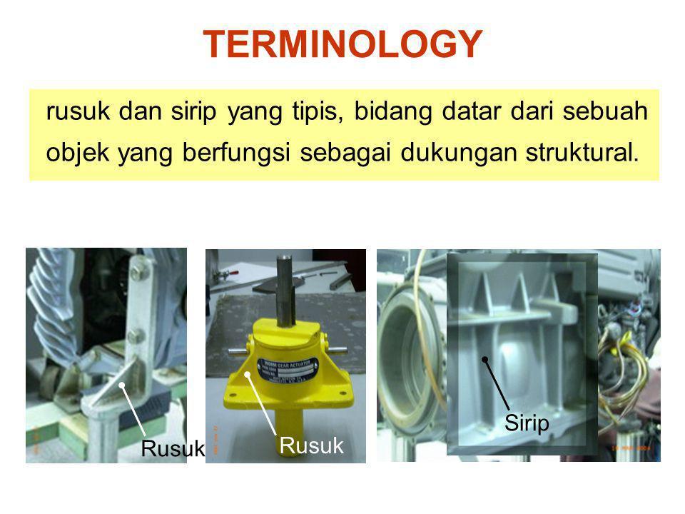 TERMINOLOGY rusuk dan sirip yang tipis, bidang datar dari sebuah objek yang berfungsi sebagai dukungan struktural.