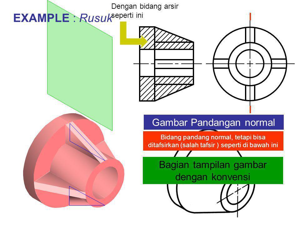 EXAMPLE : Rusuk Gambar Pandangan normal Bidang pandang normal, tetapi bisa ditafsirkan (salah tafsir ) seperti di bawah ini Bagian tampilan gambar dengan konvensi Dengan bidang arsir seperti ini