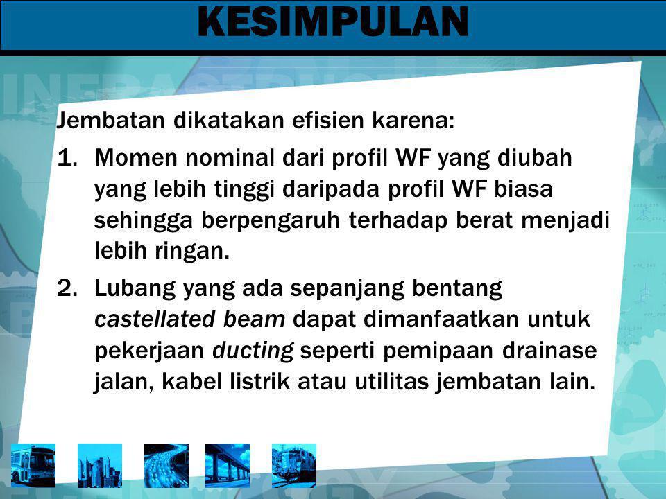 KESIMPULAN Jembatan dikatakan efisien karena: 1.Momen nominal dari profil WF yang diubah yang lebih tinggi daripada profil WF biasa sehingga berpengar