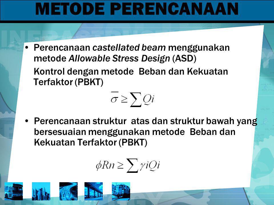 METODE PERENCANAAN Perencanaan castellated beam menggunakan metode Allowable Stress Design (ASD) Kontrol dengan metode Beban dan Kekuatan Terfaktor (P