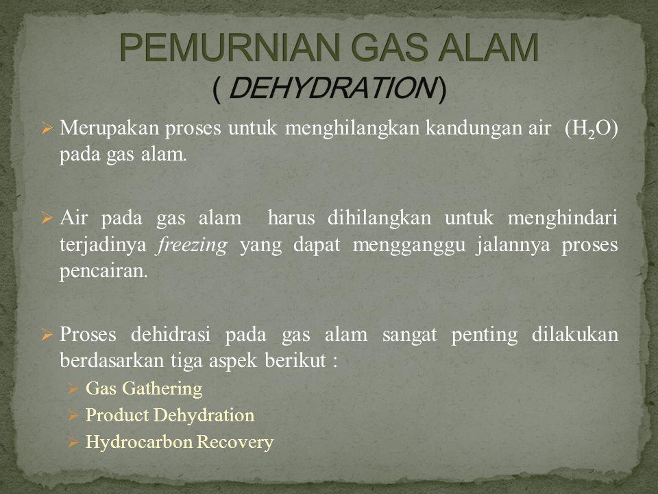 Merupakan proses untuk menghilangkan kandungan air (H 2 O) pada gas alam.  Air pada gas alam harus dihilangkan untuk menghindari terjadinya freezin