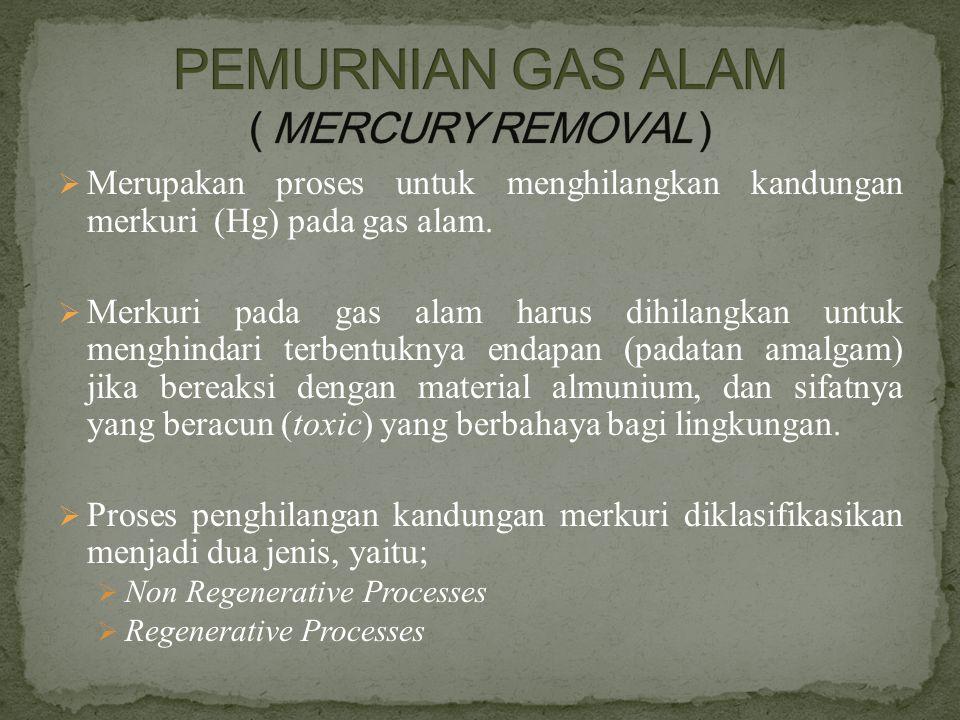  Merupakan proses untuk menghilangkan kandungan merkuri (Hg) pada gas alam.  Merkuri pada gas alam harus dihilangkan untuk menghindari terbentuknya