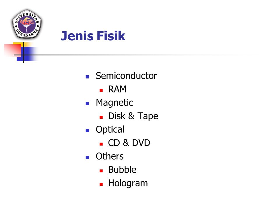 Jenis Fisik Semiconductor RAM Magnetic Disk & Tape Optical CD & DVD Others Bubble Hologram