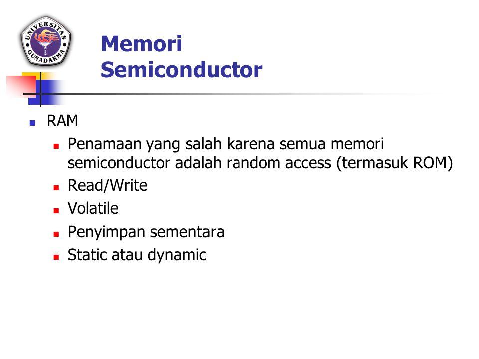 Memori Semiconductor RAM Penamaan yang salah karena semua memori semiconductor adalah random access (termasuk ROM) Read/Write Volatile Penyimpan semen