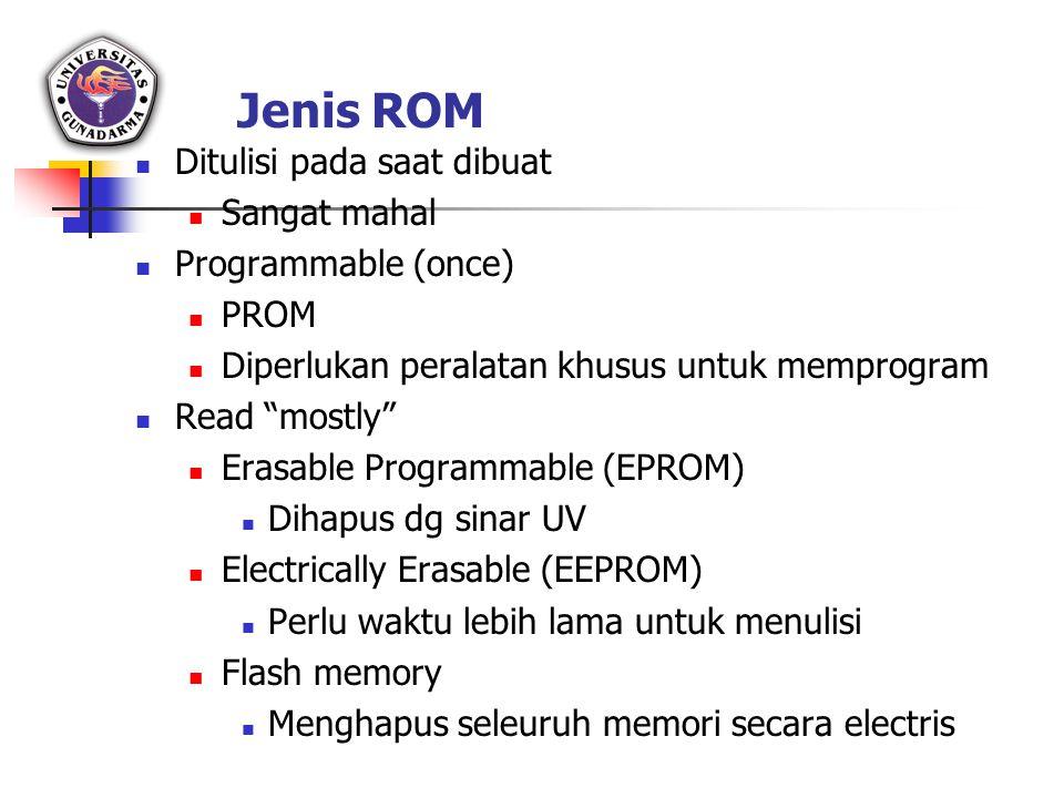 """Jenis ROM Ditulisi pada saat dibuat Sangat mahal Programmable (once) PROM Diperlukan peralatan khusus untuk memprogram Read """"mostly"""" Erasable Programm"""